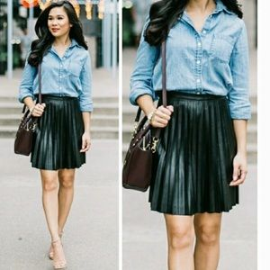 J. Crew Faux Leather Pleated Mini Skirt